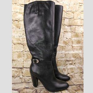 Marc Fisher Black Boots Sz 6 Shayna Buckles Heels